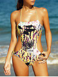 Halter Full Print Hollow Out Women's One-Piece Swimsuit -