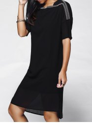 Chic Women's Slash Neck Black Beaded Chiffon Dress