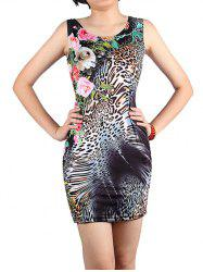 Mini Floral Leopard Bodycon Dress -