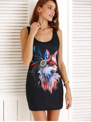 Fox Pattern Mini Tank Bodycon Dress - BLACK
