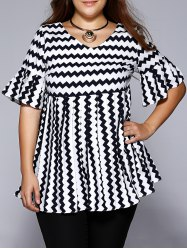 Plus Size Chic Chevron Print Pleated Blouse