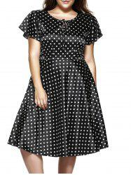 Plus Size Short Sleeve Polka Dot Midi Dress