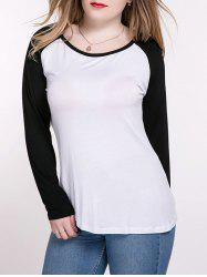 Oversized Casual Raglan Sleeve Color Block T-Shirt