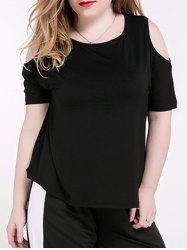 Plus Size Casual Cold Shoulder Black T-Shirt