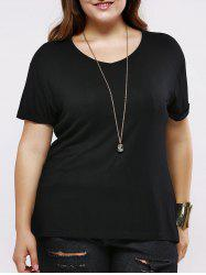 Plus Size Casual Pure Color Long T-Shirt - BLACK 5XL