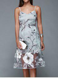 Spaghetti Strap Backless Floral Dress - BLUE GRAY XL