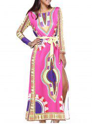 Stunning Ethnic Belted High Slit Dress - ROSE RED XL
