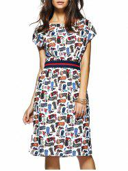 Short Sleeve Printed Elastic Waist Women's Dress -