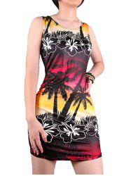 Sleeveless Scoop Neck 3D Tropical Palm Tree Print Hawaiian Dress