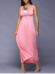 Maxi High Waist Pure Color Sleeveless Dress