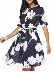Graceful Women's Stand-Up Collar Floral Print Chiffon Dress