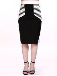 Plus Size Striped Trim Pencil Skirt -