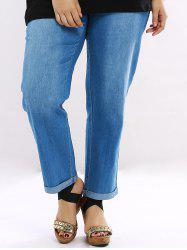Plus Size Casual Distressed Straight Jeans - Bleu Léger  2XL