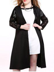 Plus Size Lace Trim Longline Cardigan - BLACK