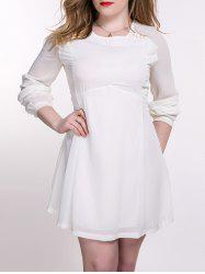 Plus Size Chiffon Backless Long Sleeve Dress - OFF WHITE 5XL