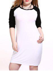 Plus Size Raglan Sleeve Two Tone Dress -