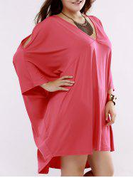 Oversized Casual Pure Color Dress with Batwing Sleeves