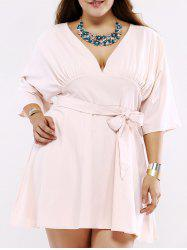 Plus Size Chic Tie Front Ruched Dress