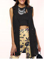 Lapel See-Through Pocket Chiffon Long Waistcoat