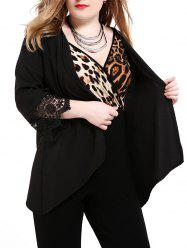 Plus Size Lace Trim Cardigan - BLACK