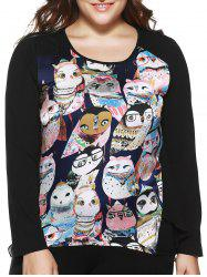 Plus Size Stylish Owl Print Asymmetrical Blouse -