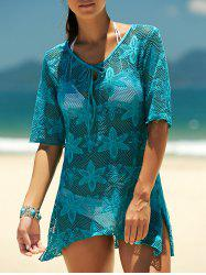 Crochet Embroidery See-Through Swimsuit Cover-Up - LAKE BLUE