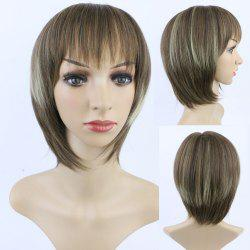 Stylish Short Straight Full Bang Mixed Color Women's Synthetic Hair Wig