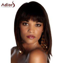 Fashion Deep Brown Medium Straight Full Bang Women's Synthetic Hair Wig