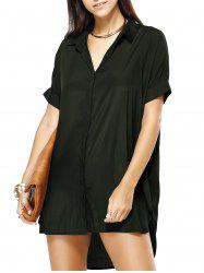 Hi Low Loose Pure Color Shirt Dress