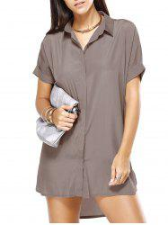 Hi Low Loose Pure Color Boyfriend Shirt Dress