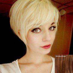 Cute Women's Short Fluffy Side Bang Human Hair Wig