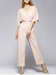 Fashionable Pure Color Half Sleeve Jumpsuit For Women - LIGHT KHAKI