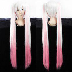 Fashion White Gradient Pink Synthetic Straight Long with Bunches QB Hatsune Miku Cosplay Wig