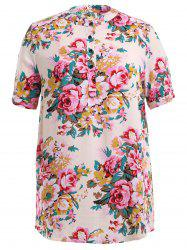 Peony Flower Print Buttoned Dress - OFF-WHITE 3XL