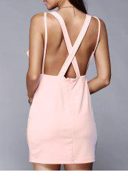 Plunging Neck Backless Criss-Cross Dress