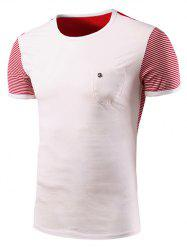 Casual Stripe Spliced Round Neck Short Sleeve T-Shirt For Men - WHITE 2XL