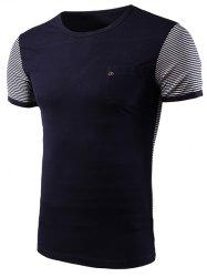 Casual Stripe Spliced Round Neck Short Sleeve T-Shirt For Men