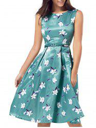Belted Printed High Waist Dress - GREEN M