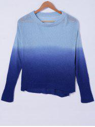 Casual Ombre Scoop Neck Long Sleeves Sweater For Women -