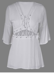 Stylish Lace-Up Plunging Neck  Bell Sleeves A-Line Dress For Women -