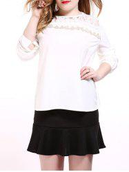 Oversized Sweet Long Sleeve Lace Splicing Blouse -