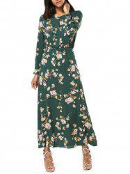 Long Sleeve Buttoned Floral Print Women's Maxi Dress