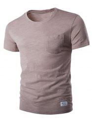 Breast Pocket Metal Star Embellished Round Neck Short Sleeve T-Shirt For Men