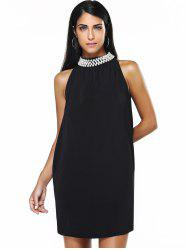 Graceful Women's Round Neck Beaded Black Dress - BLACK