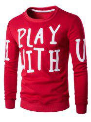Letter Print Crew Neck Long Sleeve Pullover Sweatshirt For Men