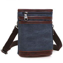 Simple Splicing and Zipper Design Messenger Bag For Men - DEEP BLUE