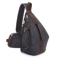 Casual Zippers and Color Splicing Design Messenger Bag For Men - BLACK