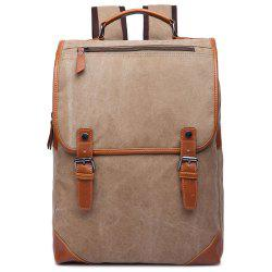 Stylish Color Block and Double Buckle Design Backpack For Men - KHAKI
