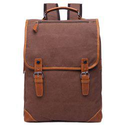 Stylish Color Block and Double Buckle Design Backpack For Men - COFFEE