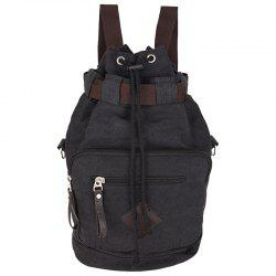Leisure Drawstring and Zippers Design Backpack For Men - BLACK